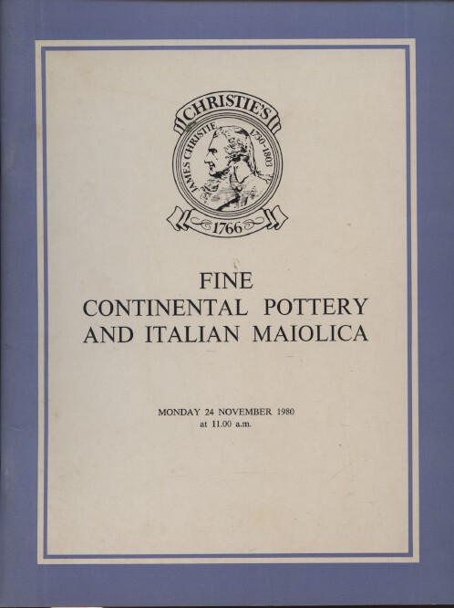 Christies November 1980 Fine Continental Pottery and Italian Maiolica