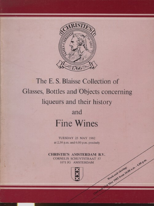 Christies 1982 Blaisse Collection of Glasses Bottles & Wine related items, Wine