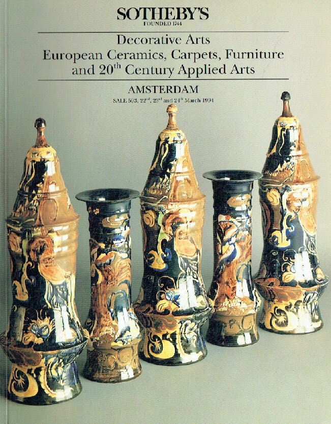 Sothebys March 1994 Decorative Arts, European Ceramics, Carpets & 20th C. Applie