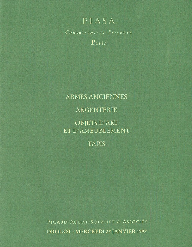 Piasa January 1997 Antique Arms, Silver & Furniture, Carpets