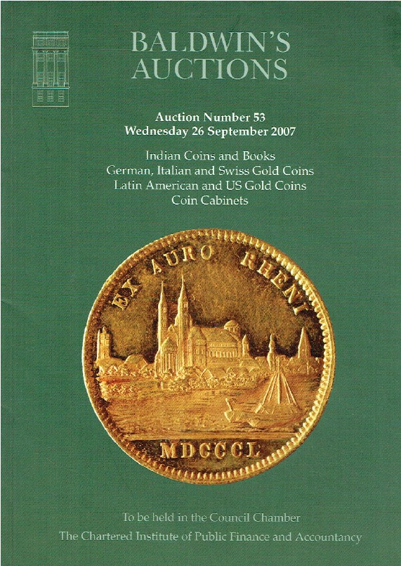 Baldwins September 2007 Indian Coins, German, Italian & Swiss Gold Coins