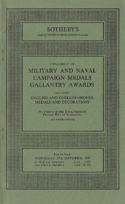 Sothebys September 1978 Military & Naval Campaign Medals, Gallantry Awards etc.