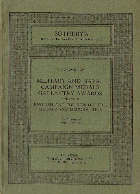 Sothebys October 1983 Military & Naval Campaign Medals, Gallantry Awards etc.