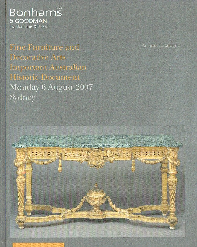 Bonhams & Goodman August 2007 Furniture & Decorative Arts Important Australian H