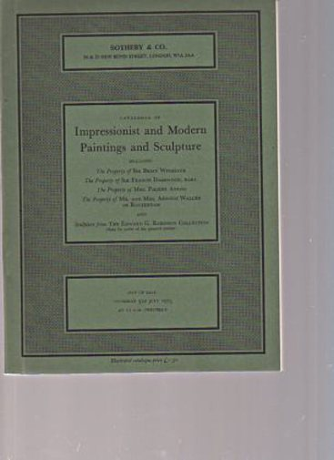 Sothebys July 1973 Impressionist & Modern Paintings & Sculpture
