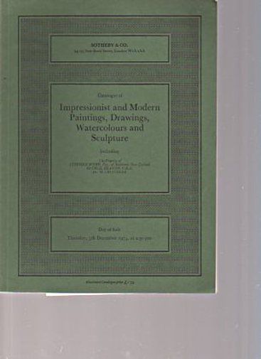 Sothebys 5th December 1974 Impressionist & Modern Paintings & Sculpture