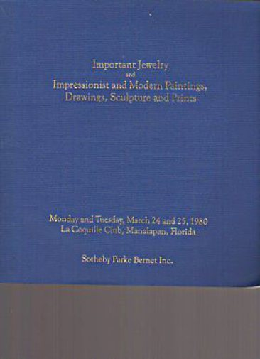Sothebys 1980 Important Jewelry, Impressionist, Modern Paintings