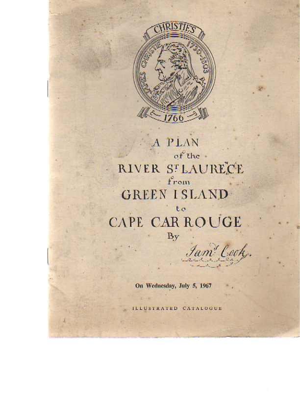Christies 1967 A Plan of the River St Laurence from Green Island
