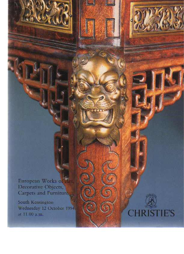 Christies 1994 European Works of Art, Carpets, Furniture
