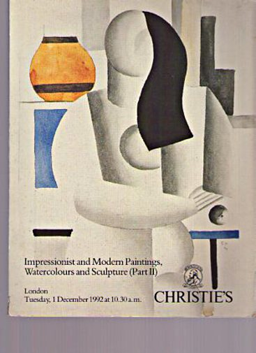 Christies 1992 Impressionist, Modern Painting, Sculpture Part II