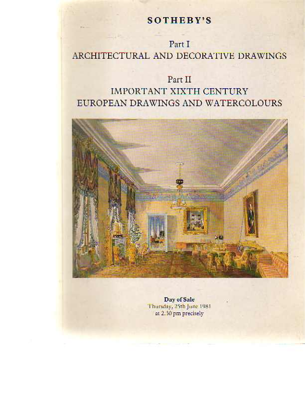 Sothebys 1981 Architectural & Decorative Drawings