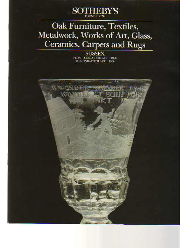 Sothebys 1990 Oak Furniture, Metalwork Textiles, Glass .....