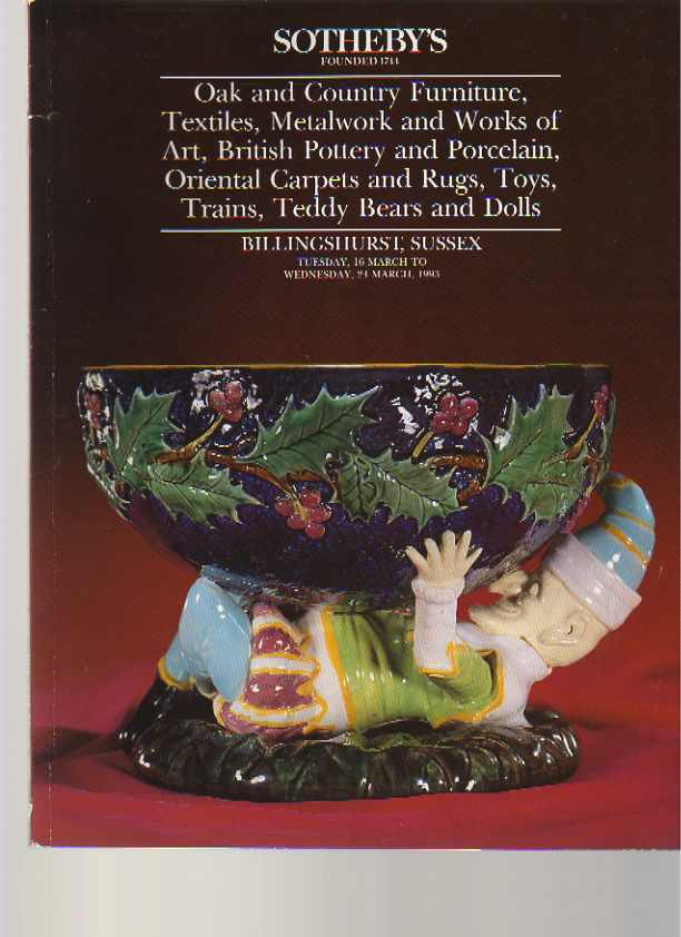 Sothebys 1993 Oak Furniture, Metalwork Textiles, Pottery ....