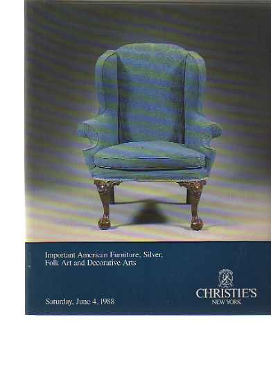 Christies 1988 American Furniture, Silver, Folk art