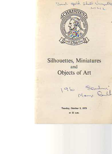 Christies 1979 Sihouettes, Miniatures & Objects of Art