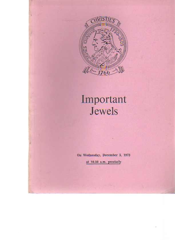 Christies 1973 Important Jewels