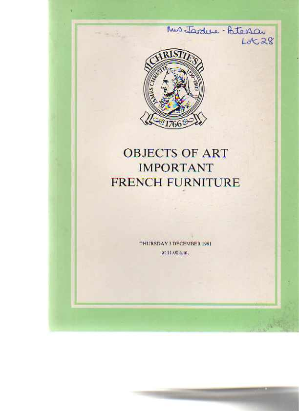 Christies 1981 Important French Furniture