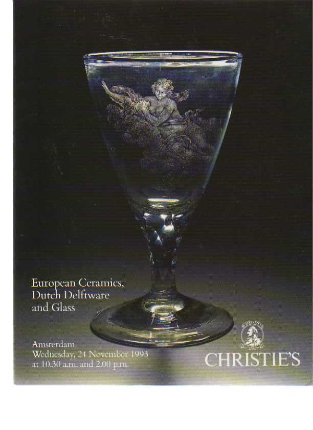 Christies 1993 European Ceramics, Dutch Delftware & Glass