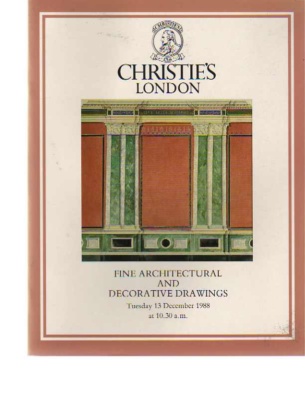 Christies 1988 Fine Architectural & Decorative Drawings