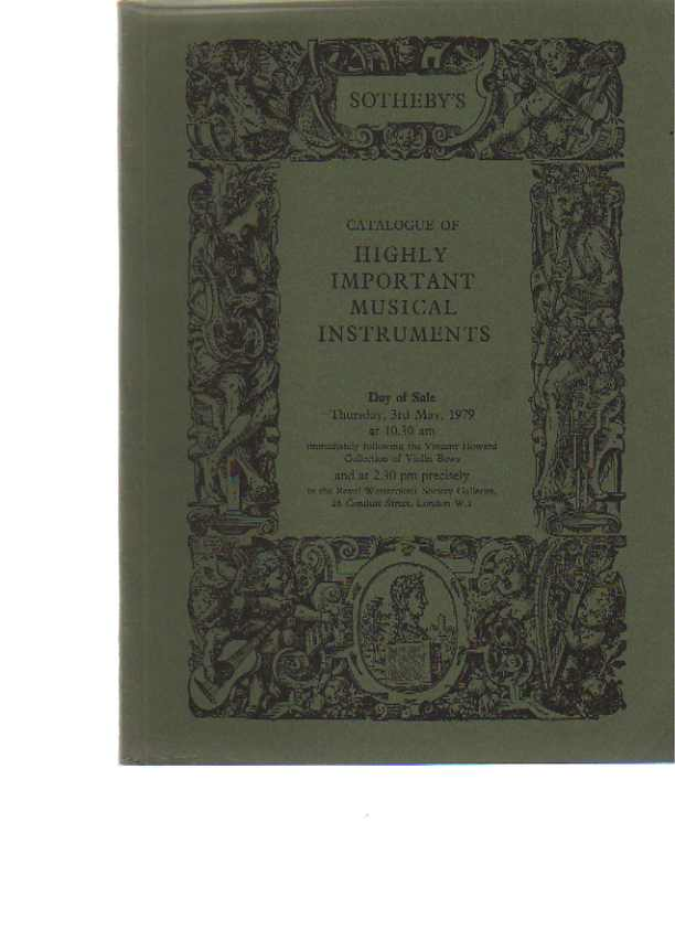 Sothebys May 1979 Highly Important Musical Instruments