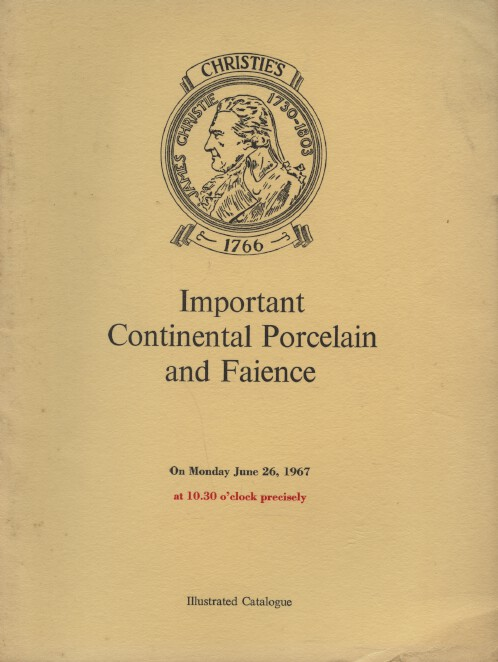 Christies June 1967 Important Continental Porcelain and Faience