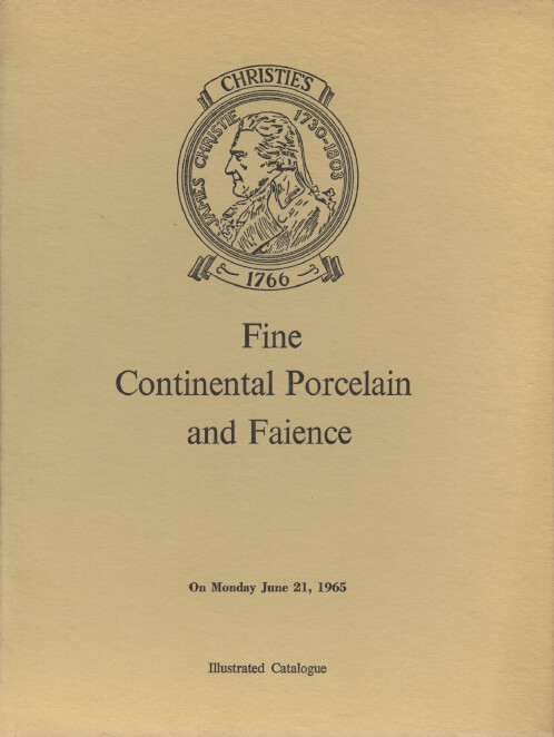 Christies June 1965 Fine Continental Porcelain and Faience