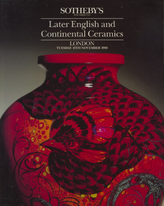 Sothebys November 1990 Later English and Continental Ceramics