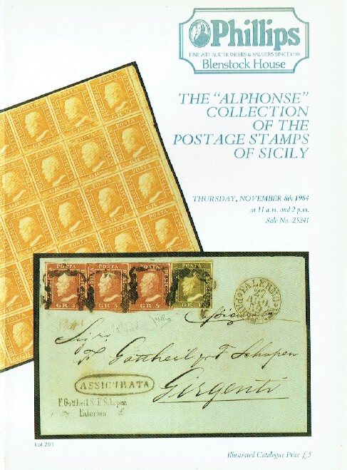 "Phillips November 1984 The ""Alphonse"" Collection of the Postage Stamps of Sicily"