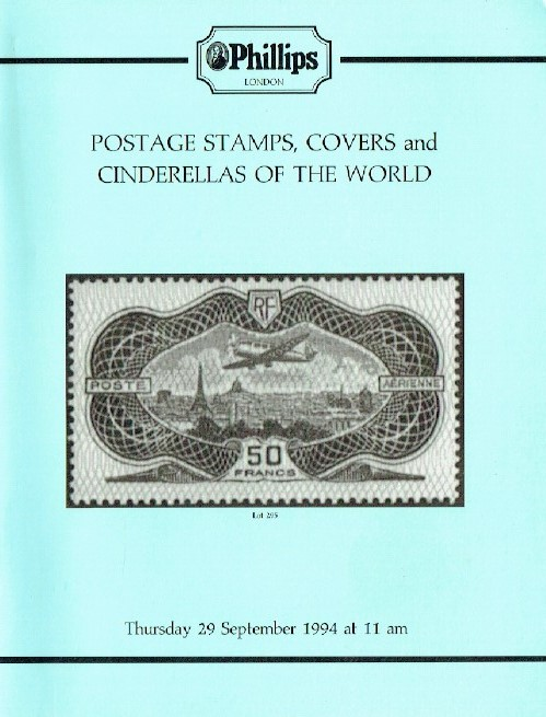 Phillips September 1994 Postage Stamps, Covers and Cinderellas of the World