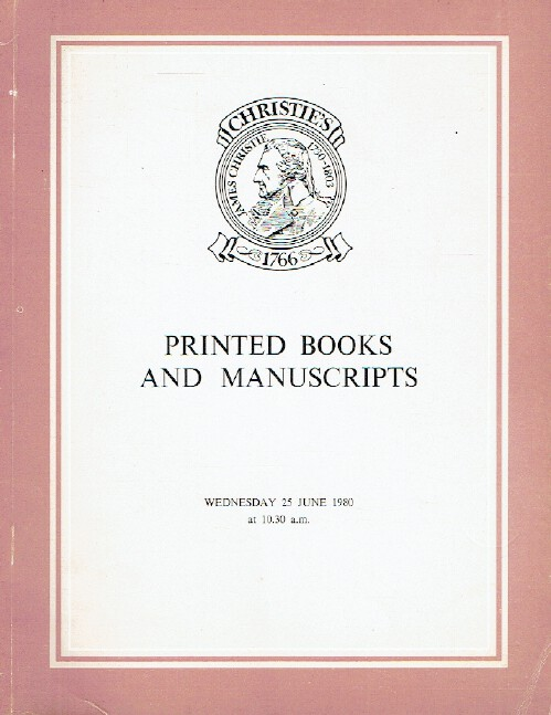 Christies June 1980 Printed Books & Manuscripts