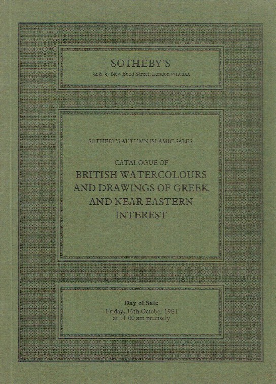 Sothebys October 1981 British Watercolours & Drawings of Greek and Eastern