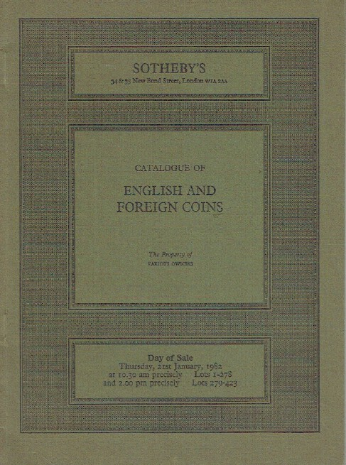 Sothebys January 1982 English & Foreign Coins