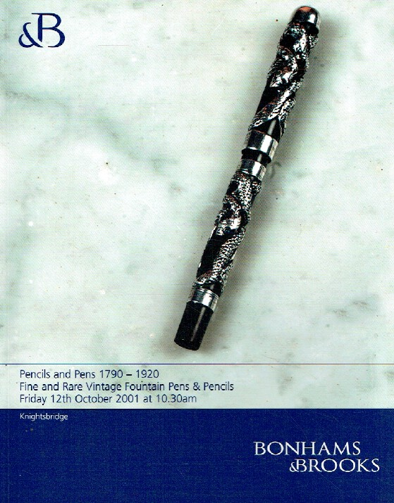 Bonhams & Brooks October 2001 Pencils & Pens 1790-1920 Vintage Fountain Pens