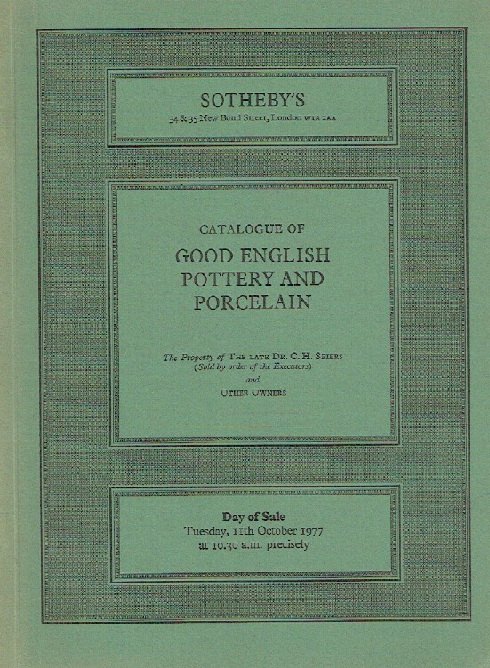 Sothebys October 1977 Good English Pottery and Porcelain
