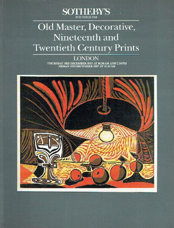 sothebys prints by pablo picasso a private european collection london friday 1st december 1989