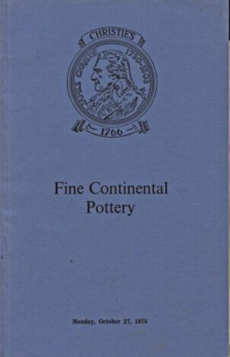 Christies October 1975 Fine Continental Pottery
